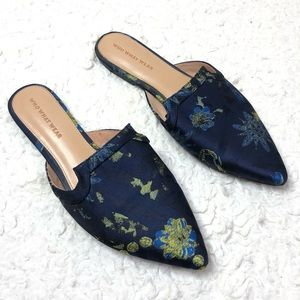 Who What Wear Navy Blue Floral Mules
